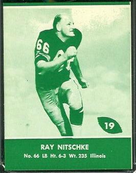 Ray Nitschke 1961 Packers Lake to Lake football card