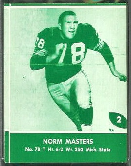 Norm Masters 1961 Packers Lake to Lake football card