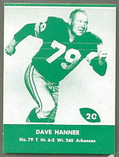 Dave Hanner 1961 Packers Lake to Lake football card