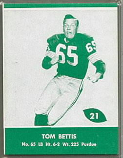 Tom Bettis 1961 Packers Lake to Lake football card