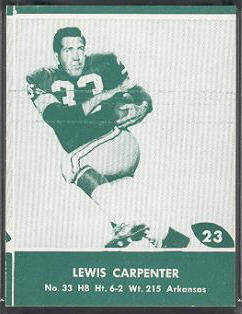 Lew Carpenter 1961 Packers Lake to Lake football card