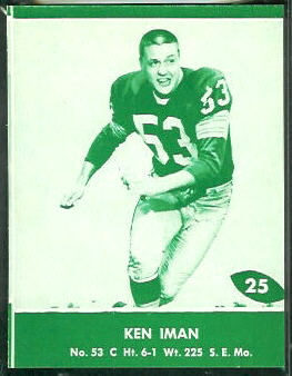 Ken Iman 1961 Packers Lake to Lake football card