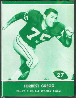 Forrest Gregg 1961 Packers Lake to Lake football card