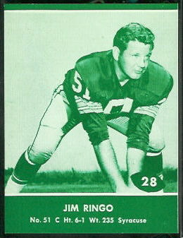 Jim Ringo 1961 Packers Lake to Lake football card