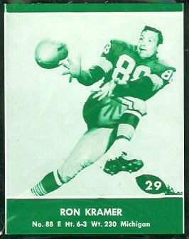 Ron Kramer 1961 Packers Lake to Lake football card