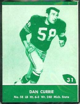 Dan Currie 1961 Packers Lake to Lake football card