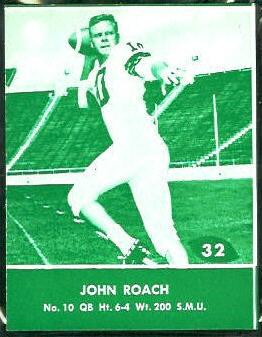John Roach 1961 Packers Lake to Lake football card