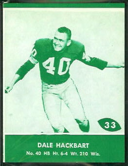 Dale Hackbart 1961 Packers Lake to Lake football card