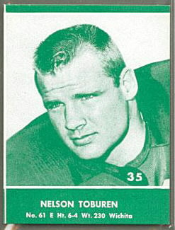 Nelson Toburen 1961 Packers Lake to Lake football card