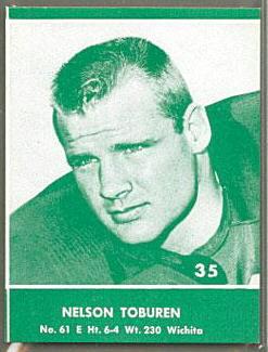 Nelson Toburen 1961 Packers Lake to Lake football card