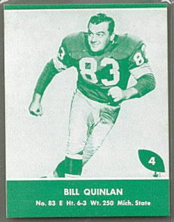 Bill Quinlan 1961 Packers Lake to Lake football card