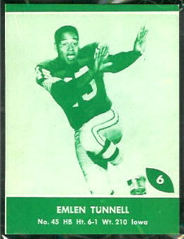 Emlen Tunnell 1961 Packers Lake to Lake football card