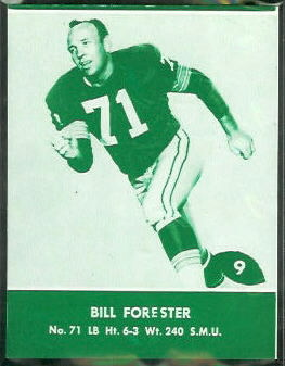 Bill Forester 1961 Packers Lake to Lake football card