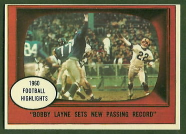 Bobby Layne Sets New Passing Record 1961 Topps football card
