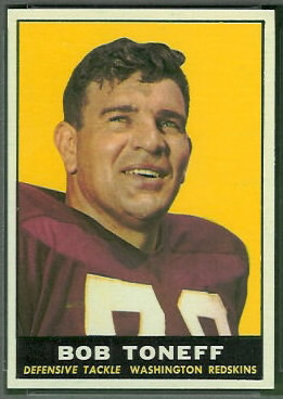 Bob Toneff 1961 Topps football card