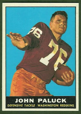 John Paluck 1961 Topps football card