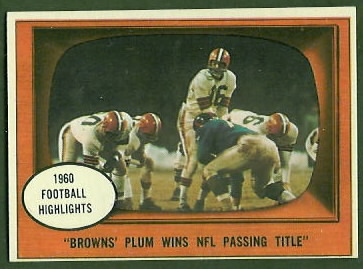 Milt Plum Wins NFL Passing Title 1961 Topps football card