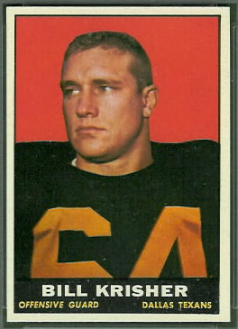 Bill Krisher 1961 Topps football card