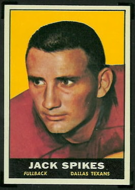 Jack Spikes 1961 Topps football card