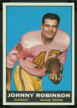 Johnny Robinson 1961 Topps football card