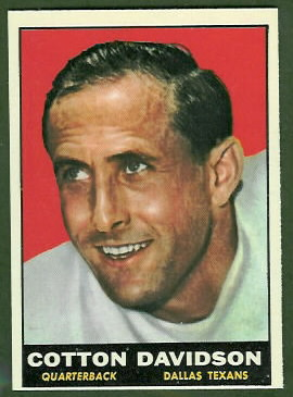 Cotton Davidson 1961 Topps football card