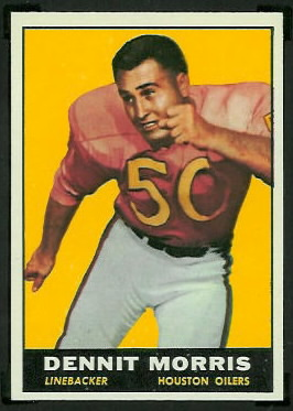 Dennit Morris 1961 Topps football card