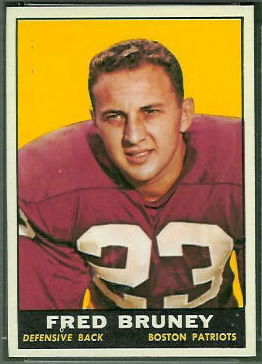 Fred Bruney 1961 Topps football card