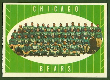 Chicago Bears Team 1961 Topps football card
