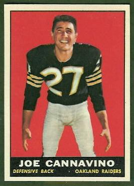 Joe Cannavino 1961 Topps football card