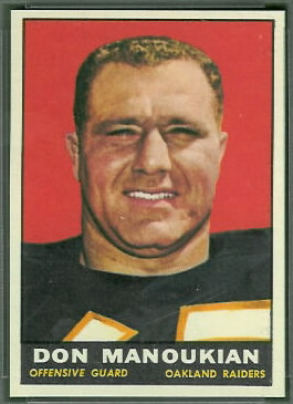 Don Manoukian 1961 Topps football card