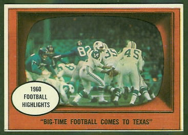 Big Time Football Comes to Texas 1961 Topps football card