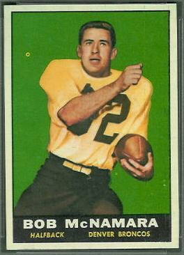 Bob McNamara 1961 Topps football card