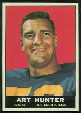Art Hunter 1961 Topps football card