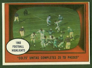 John Unitas Completes 25 TD Passes 1961 Topps football card