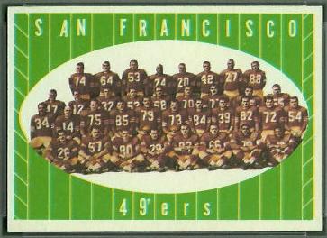 San Francisco 49ers Team 1961 Topps football card