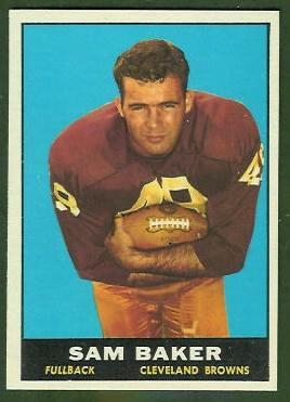 Sam Baker 1961 Topps football card