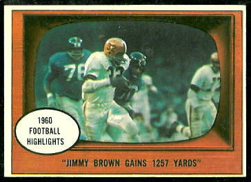 Jimmy Brown gains 1257 yards 1961 Topps football card