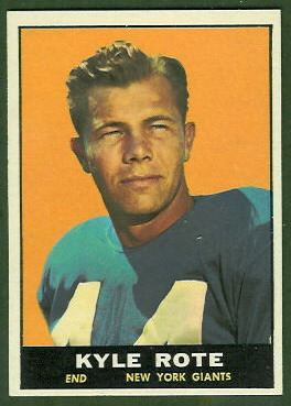 Kyle Rote 1961 Topps football card