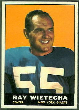 Ray Wietecha 1961 Topps football card