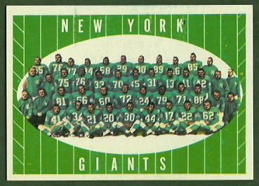 New York Giants Team 1961 Topps football card