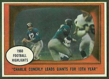 Charley Conerly Leads Giants for 13th Year 1961 Topps football card