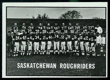 Saskatchewan Roughriders Team 1961 Topps CFL football card