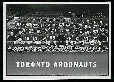 Toronto Argonauts Team 1961 Topps CFL football card