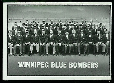Winnipeg Blue Bombers Team 1961 Topps CFL football card