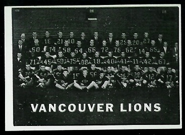 B.C. Lions Team 1961 Topps CFL football card