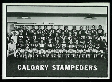 Calgary Stampeders Team 1961 Topps CFL football card