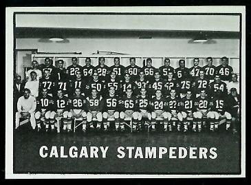 Calgary Stampeders Team 1961 Topps CFL football card