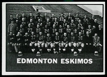 Edmonton Eskimos Team 1961 Topps CFL football card