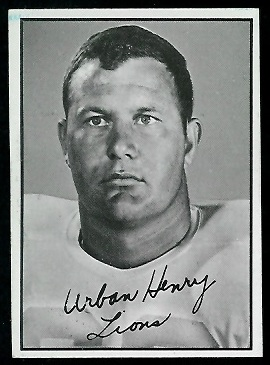 Urban Henry 1961 Topps CFL football card