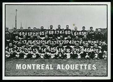 Montreal Alouettes Team 1961 Topps CFL football card